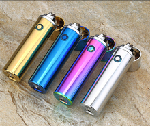 Gift items mini novelty e-cigarette atomic windproof gas lighter usb charged rechargeable lighter