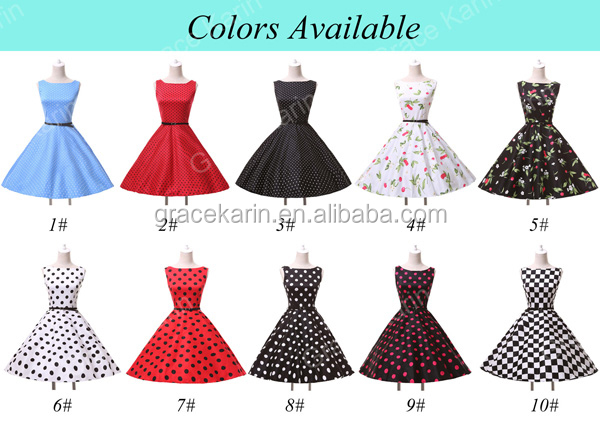 Grace Karin Cotton Cheap Knee Length Sleeveless Retro Vintage ...