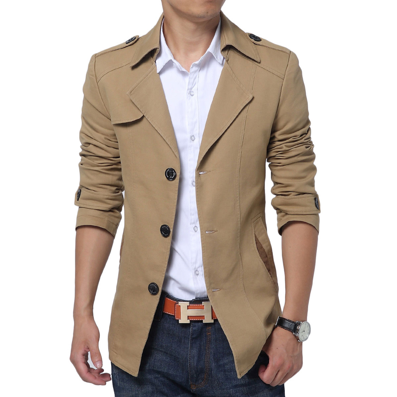2015 New British Style Trench Coat Black Men Fashion Single Breasted Long Trench Men Outerwear Casual Slim Fit Jacket and Coats