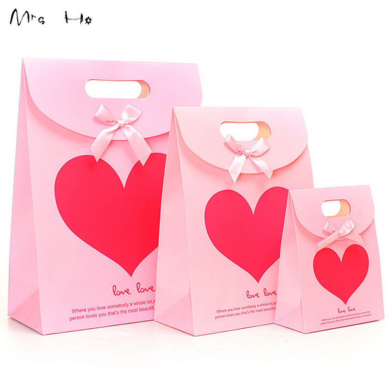 20pcs/lot Rose Red Heart Paper Gift Bag Goodie Gift Bags Baby Shower Party Birthday Wedding New Year Gift Decoration Bag PP523
