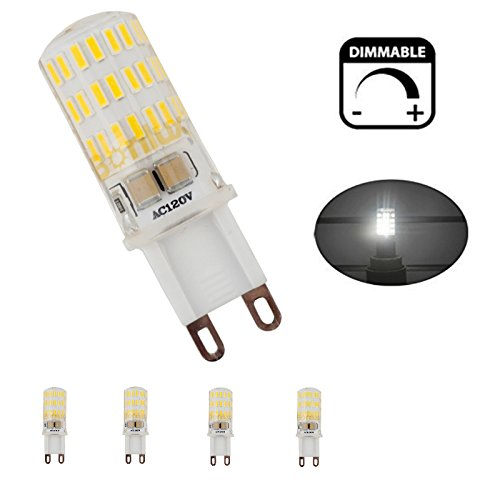 Bonlux 4-Pack G9 Base Dimmable LED Light Bulb, 5W(40W Equivalent), G9 Bi-pin Base T4 Xenon Replacement Bulb for Under Cabinet, Ceiling Fan, Puck Lights and Desk Lamp Lighting (Daylight White 6000K)
