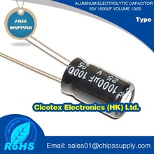 Aluminum electrolytic capacitor 50v 1000uf volume 13x25
