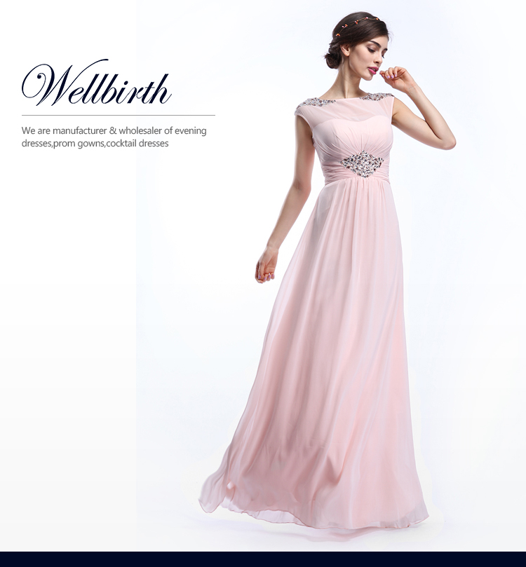 Women Long Prom Pink Cap Sleeve Evening Gown Beach Blush Colored