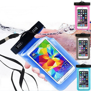 Wholesale PVC cell phone neck ganging bag swim travel waterproof phone pouch case for iPhone X for Samsung Galaxy J7