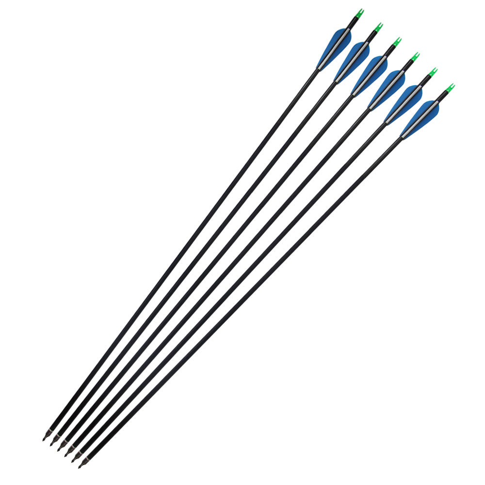 32 Inch Spine 500 Target Practice Steel Point Archery Carbon Arrows for Hunting Compound &Recurve Bow