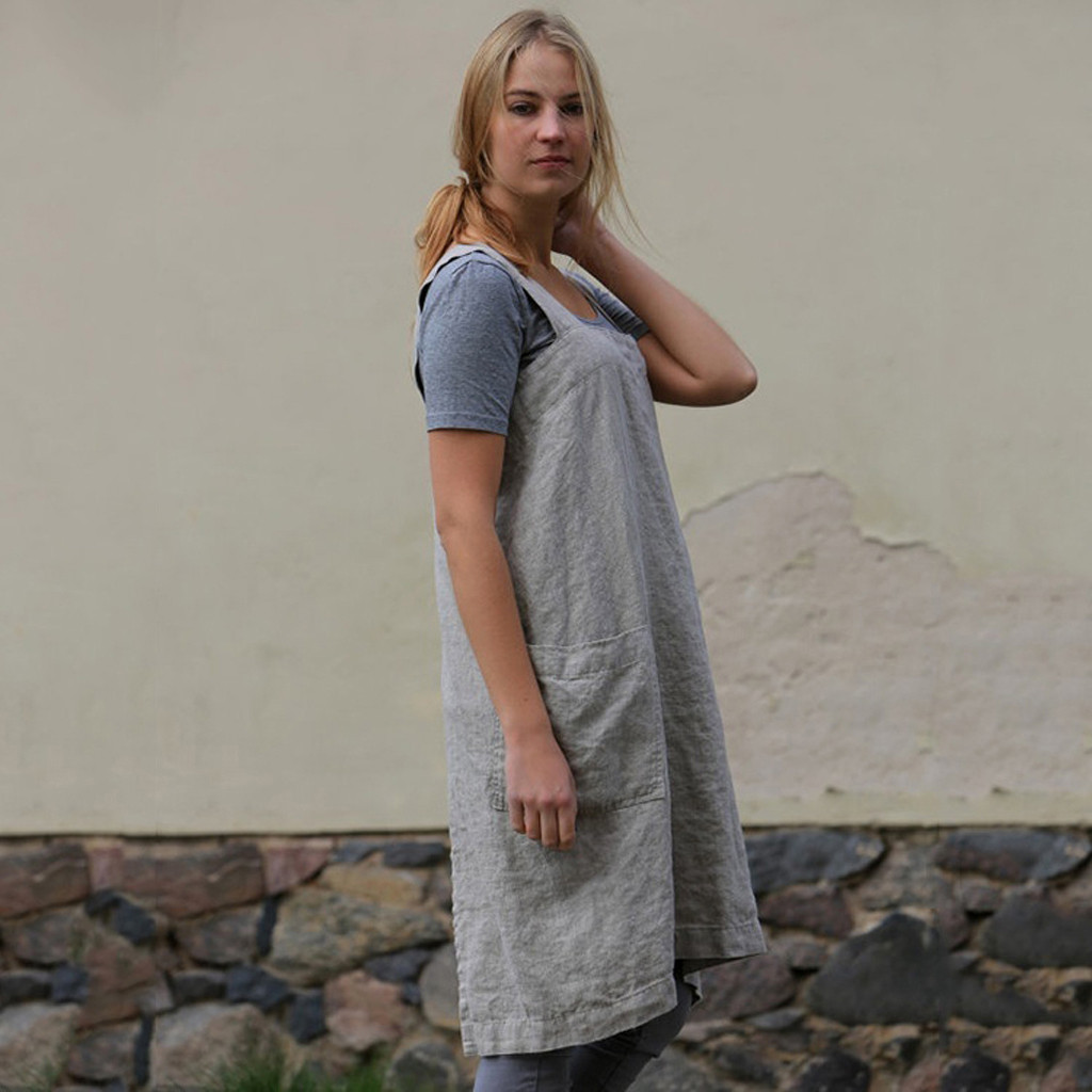 36e0db0052 Dress Women Cotton Linen Pinafore Square Cross Apron Garden Work Pinafore  Dress vintage autumn Spring dresses 2018 vestidos