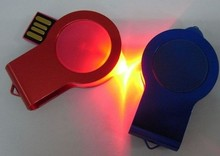 Swivel led light usb flash drive with dome epoxy sticker, Swivel Mini USB drive with light, twist usb disk with led flash light