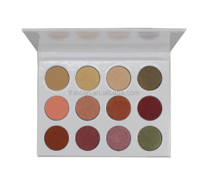 Private label cosmetics high pigment white eyeshadow palette 12 color foiled eyeshadow