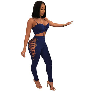 Sexy Bandage Women's Set Fashion Eyelet Lace-up Hollow Out High Waist Skinny Pants + Back Zipper Sling Cropped Tops 2 Piece Set