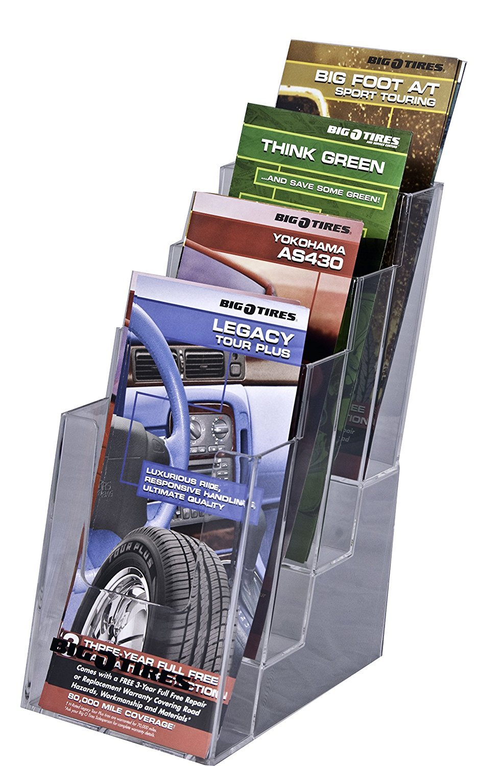 Clear-Ad - LHF-S104 - Acrylic Slant Back 4 Tier Trifold Brochure Display - Plastic Literature Holder for Flyers, Booklets, Bills, Mail, Letters, Cards, Pamphlets, Maps (Pack of 4)