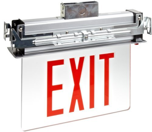 Morris Products 73330 Recessed Mount Edge Lit LED Exit Sign, Red on Clear Panel Color, Anodized Aluminum Housing (2)