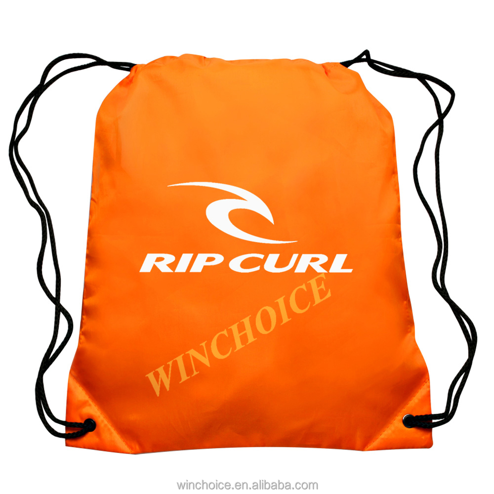 Customized logo branded promotional drawstring bag polyester material