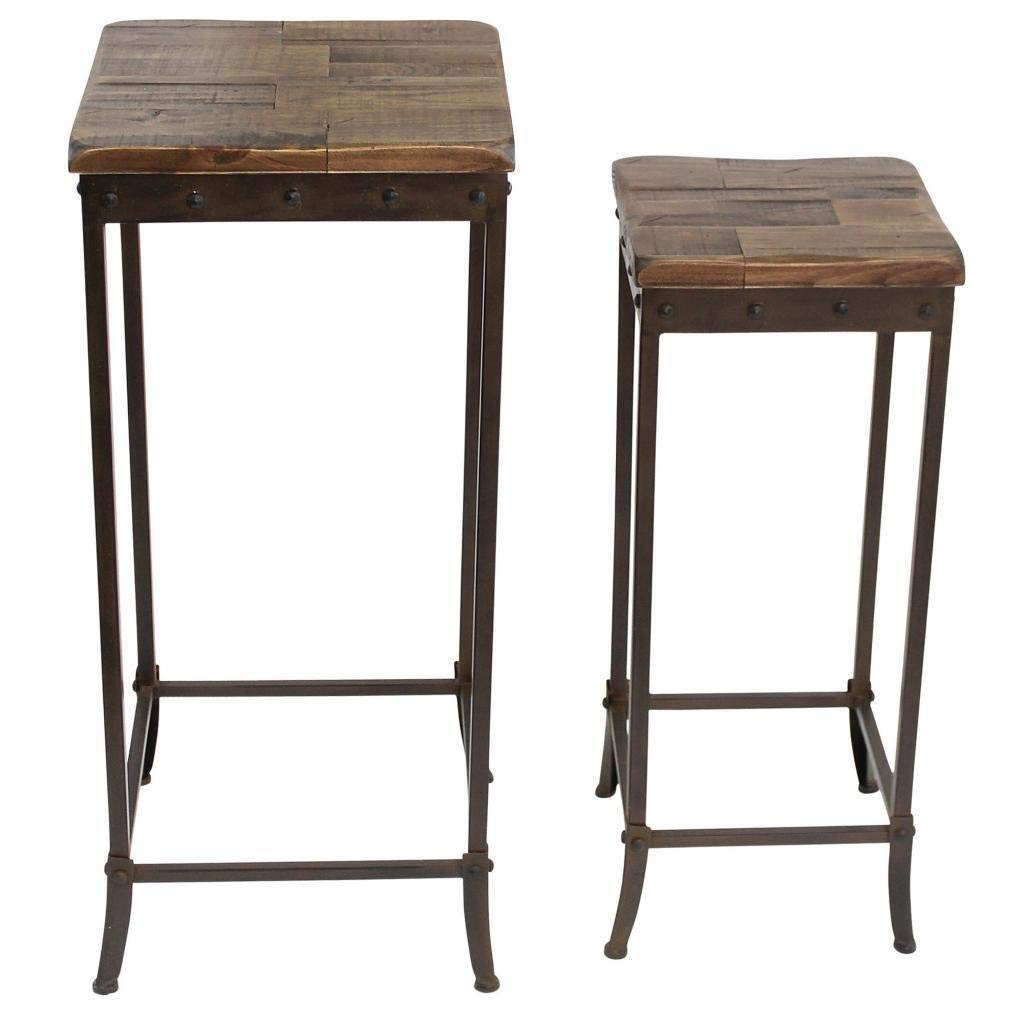 Rustic Transitional Solid Pine Wood Set of 2 Accent Table with Black Iron Frame - Includes Modhaus Living Pen