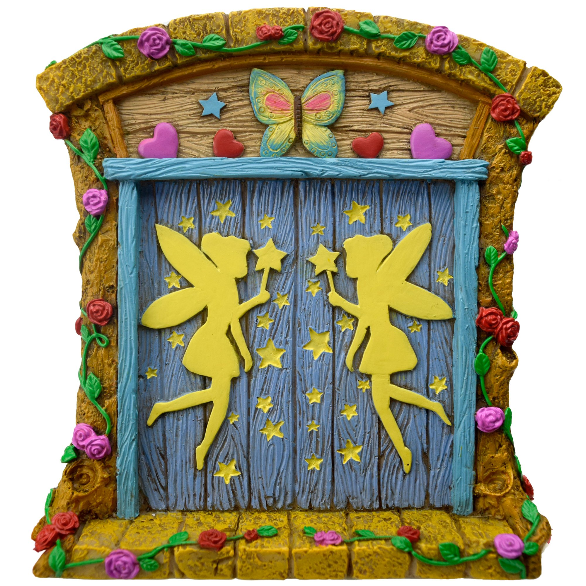 The Miniature Magical Fairy Garden Gnome Home Door (with Hand Painted Flowers, Vines, Stars, Hearts, Care and Cuteness) by Twig & Flower