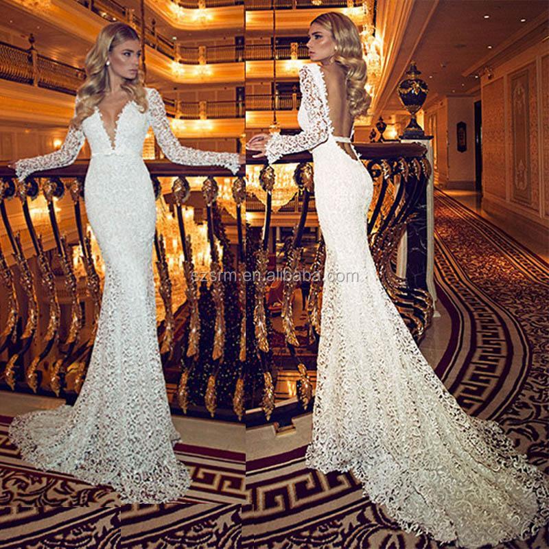 Vintage Deep V Neck Wedding Dress With Sheer Long Sleeves Lace Backless Long Mermaid Elegant Bridal Gown Hs415 Buy Vintage Deep V Wedding
