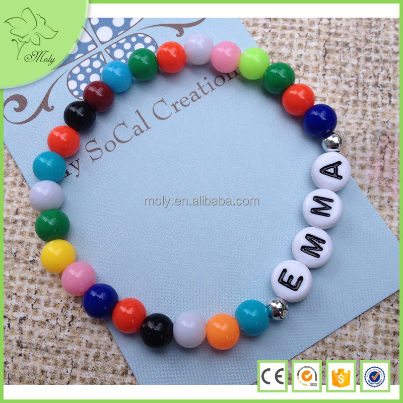 Customized DIY Metal Beads Colorful Plastic Alphabet Letters Elastic Bracelet