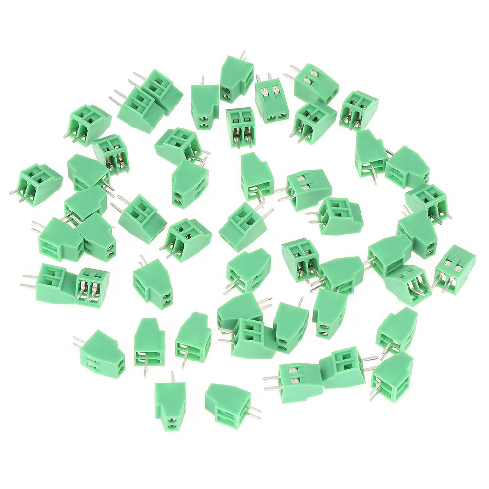 50Pcs 2 Pin Terminal Block Connectors, 2-Pin 2.54mm Pitch Mount Power Green PCB Screw Terminal Block Connector