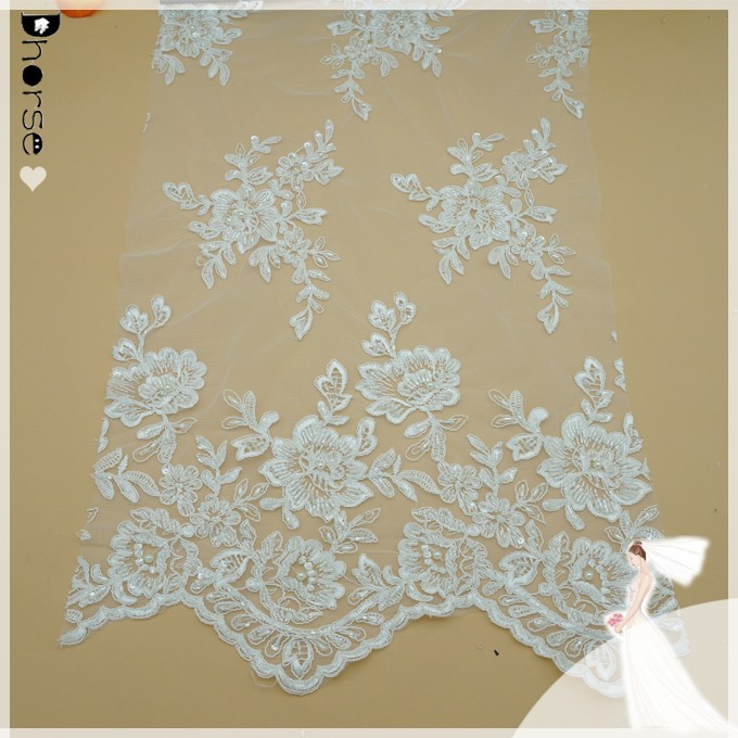 Wholesale cheap pearls beaded heavy lace fabric market in dubai