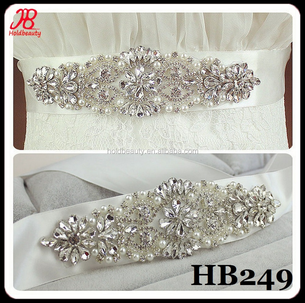 Factory wholesale handmade Bridal Pearl crystal beads for wedding dress