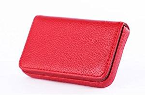 Luck Bear Moder Stylish Business Card Case Holder Premium PuLuck Bear Moder Leather Name Card Holder Case with Supple Gift Bag (Ideal for Gift) (red)