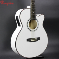cheap china electric guitar 40 inch white acoustic guitar with 4 band EQ pickup