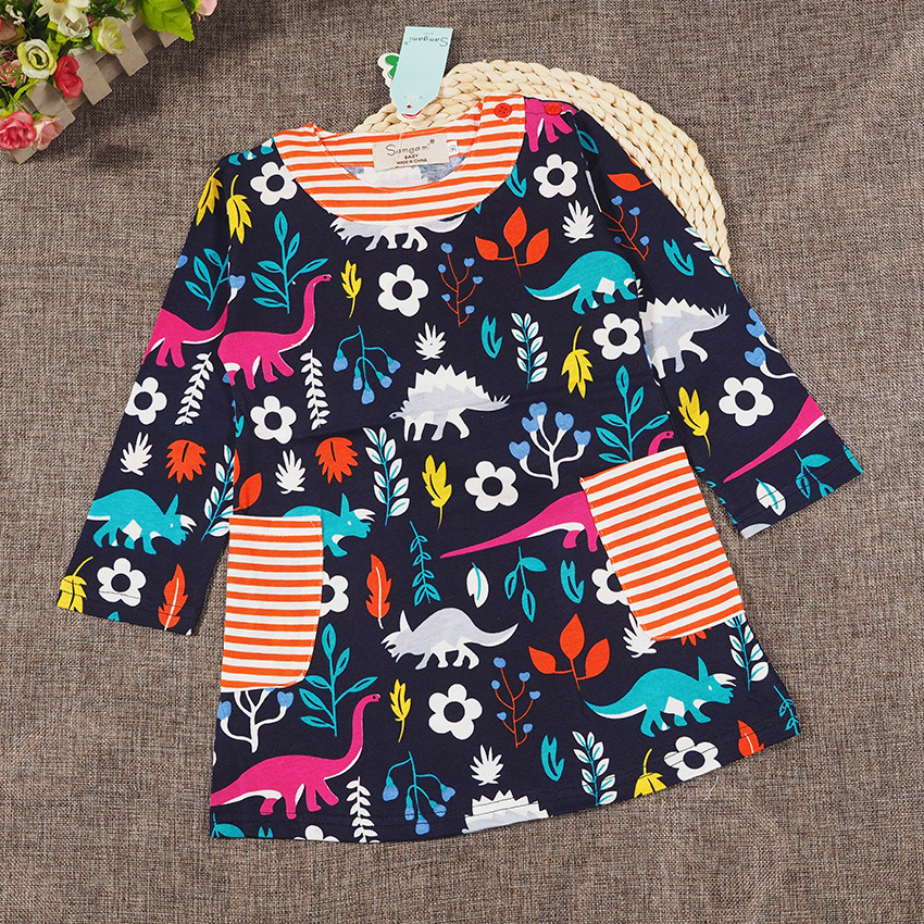 New Spring Girls Cotton Dress Flower Girls Long Sleeve Party Dress Cartoon Birds Children Wear
