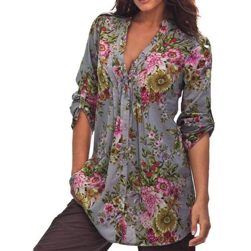 Feitengtd Women Casual V-Neck Floral Printed Tunic Shirt Swing Dress Long Sleeve Semi-Sheer Plus Size T-Shirt Top (S)