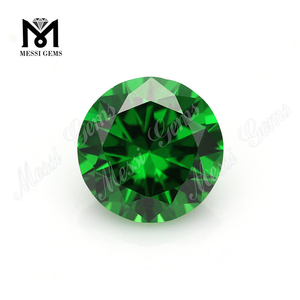 Round Shape Diamond Cut 8mm Dark Green Synthetic CZ Gemstone