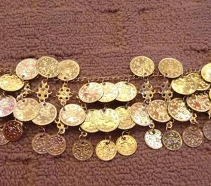 Gypsy metal belly dance anklet with coins