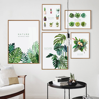 5 Pieces Cheap cost green plants flowers leaves prints painting popular for home wall decoration