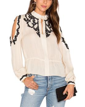 7b224e353ad7c2 Designer Western Tops Images Lace Applique Cold Shoulder Tops Blouse HSB2643