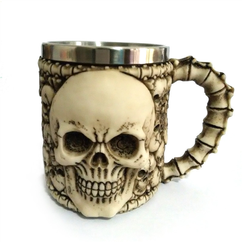 Creative funny Halloween gift retro resin stainless steel <font><b>Gothic</b></font> 3D skull mug Personalized coffee cup bar party <font><b>home</b></font> <font><b>decoration</b></font>