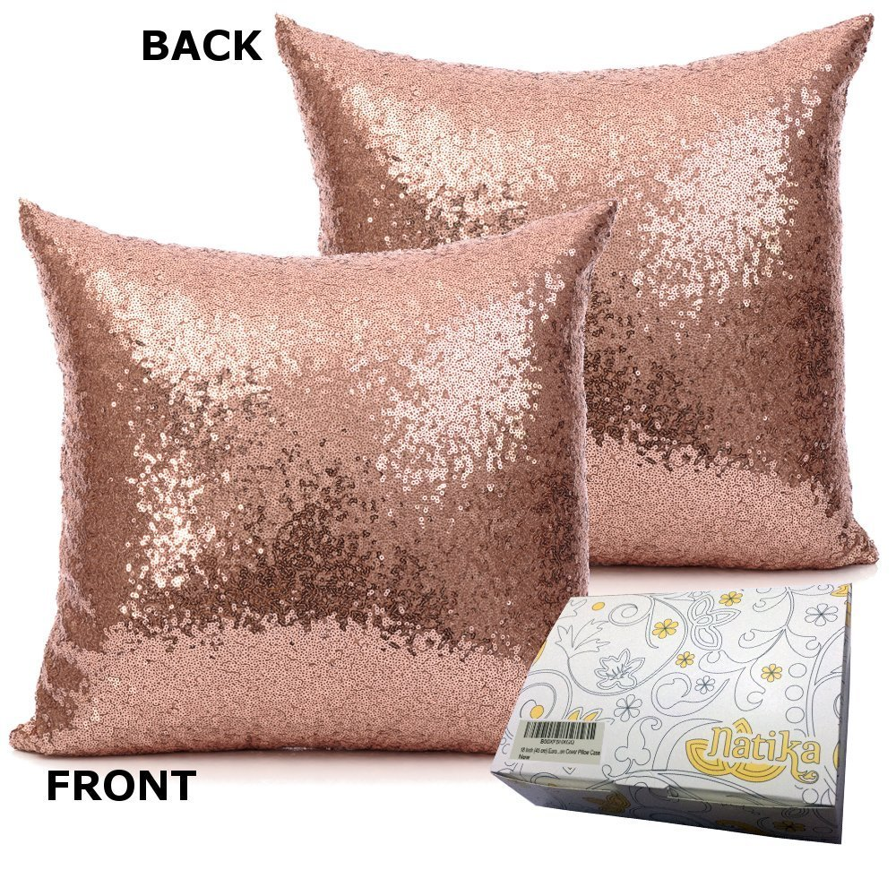 18 Inch (45 cm) Europe Luxurious Sequin Pillow Cushion Cover Pillow Case (Rose Gold) by Netlab-Pillowcover