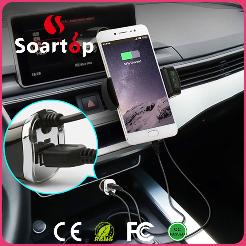 CSR chip bluetooth FM transmitter mobile phone car charger with phone holder