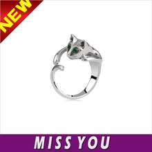 European and American trade jewelry personalized hand-polished alloy diamond cat cuff ring