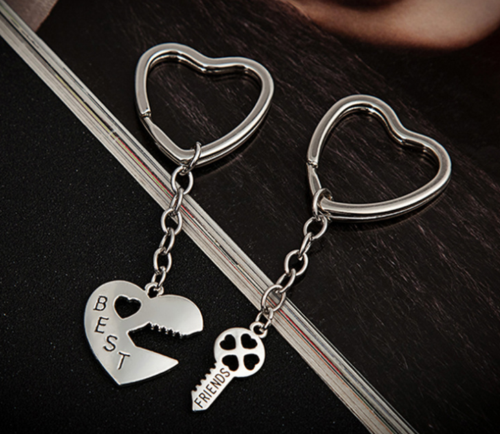 KY37-018 silver metal heart shaped ring deep in your heart <strong>key</strong> and heart paired keychains holders for best friends