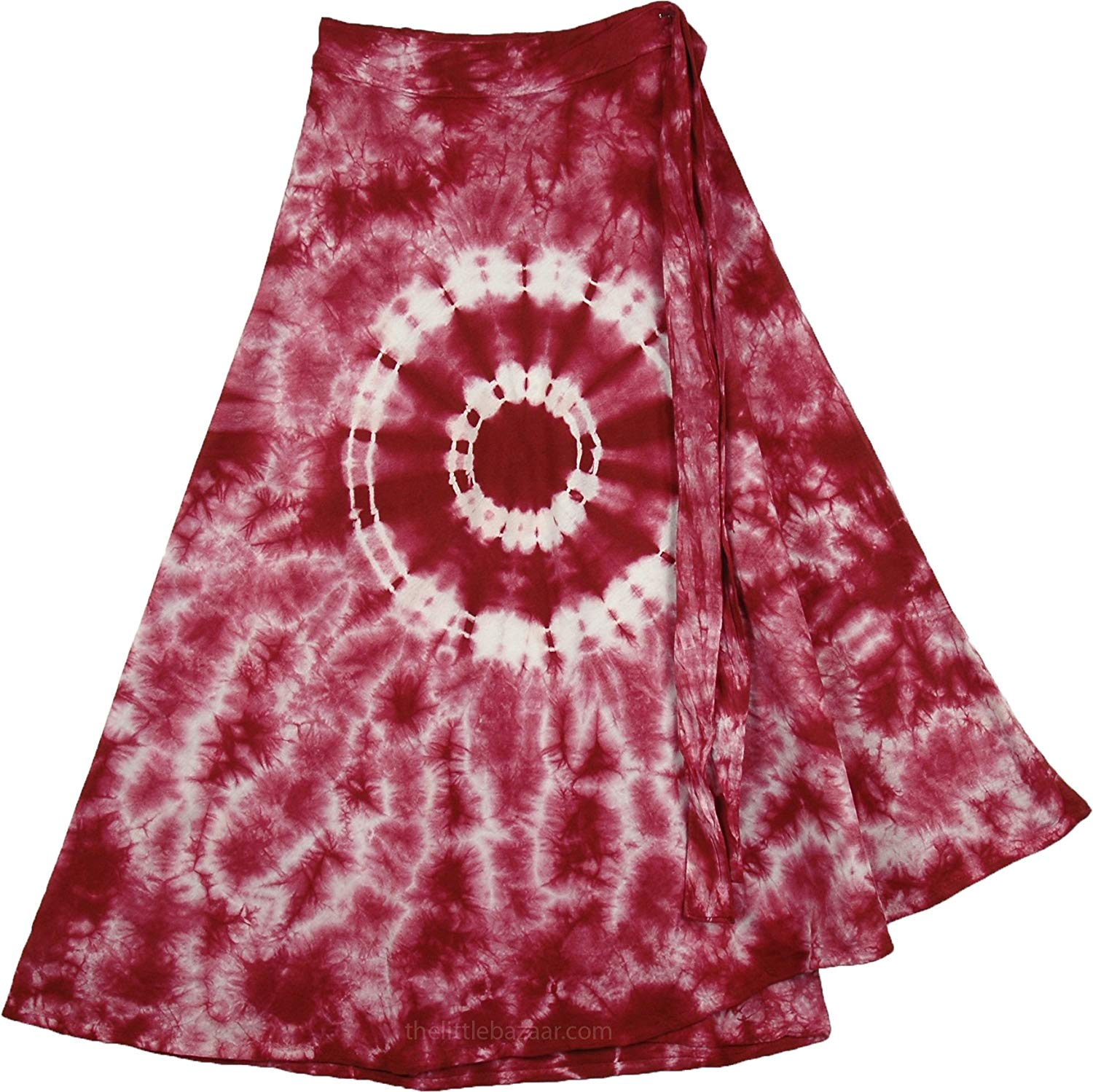 "TLB Tie Dye Short Wrap Skirt In Burgundy - L:27""; W:20""-32"""