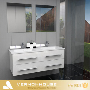 Modern White Lacquer l Shaped Bathroom Vanity