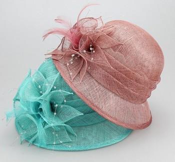 048efce3 Elegant quality lady church hats sinamay wedding hats with feather  decoration