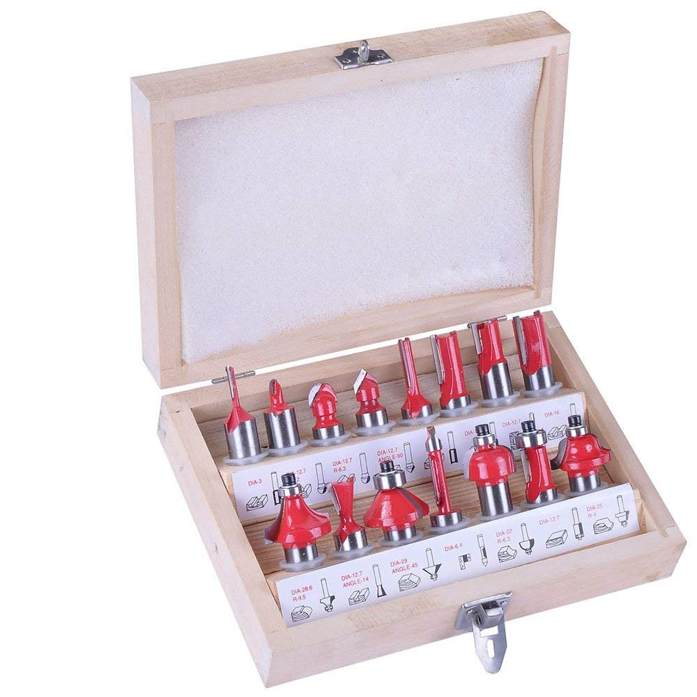 """1/4"""" 6.35mm Router Bit Set Shank Wood Carving Tungsten Carbide Tipped Woodworking Milling Cutter Trimming knife Wood case"""