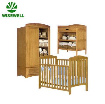 Wood Baby Crib Wardrobe Changing Chest Nursery Furniture Set W Bb