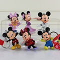 6Pcs Lot High Quality Mickey Figure Minnie Mouse PVC Keychains Key Rings Dolls Toys Free Shipping