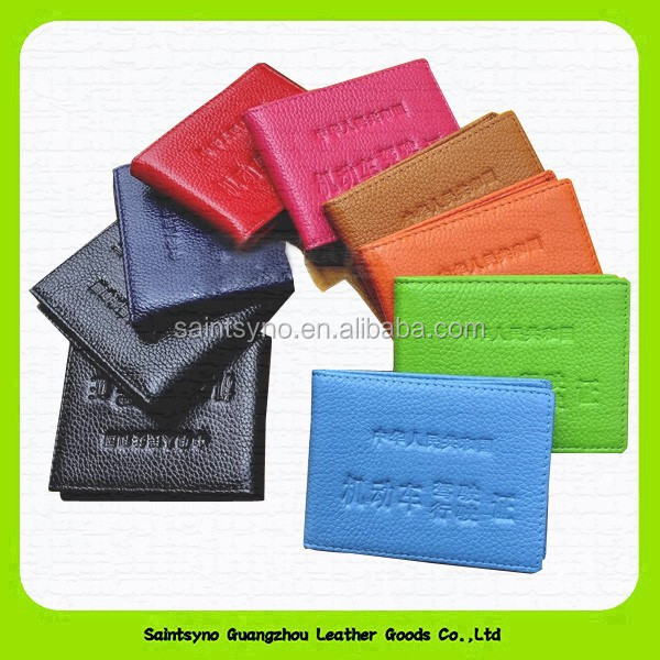 14015 Cowhide leather driving licence holder in various colors