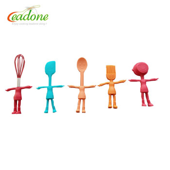 5-Piece Funny Boys Shape Silicone & Nylon Kids Kitchen Utensil Set