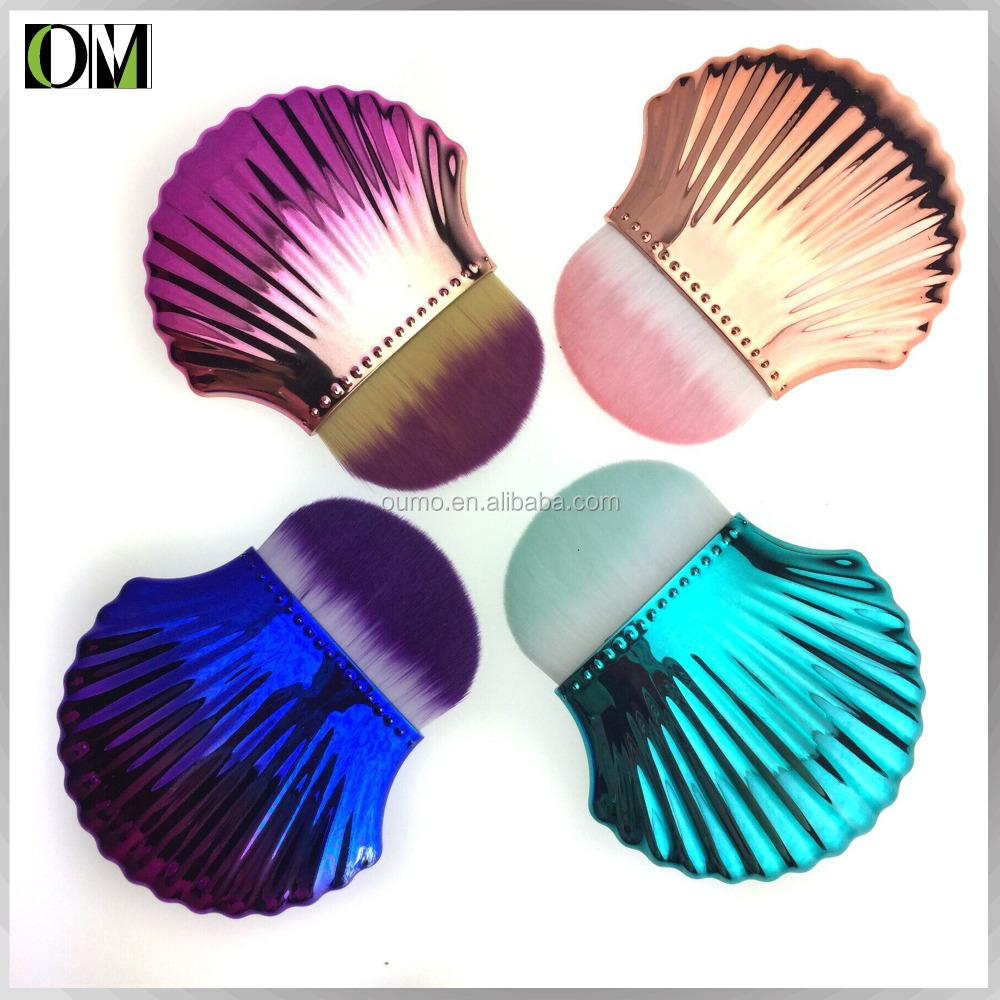 OUMO- Best selling makeup brush shell foundation brush single foundation conch makeup brush with electroplate handle