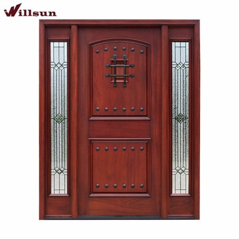 Wrought Iron Design Internal Doors Glass Panel Wood Doors Glass