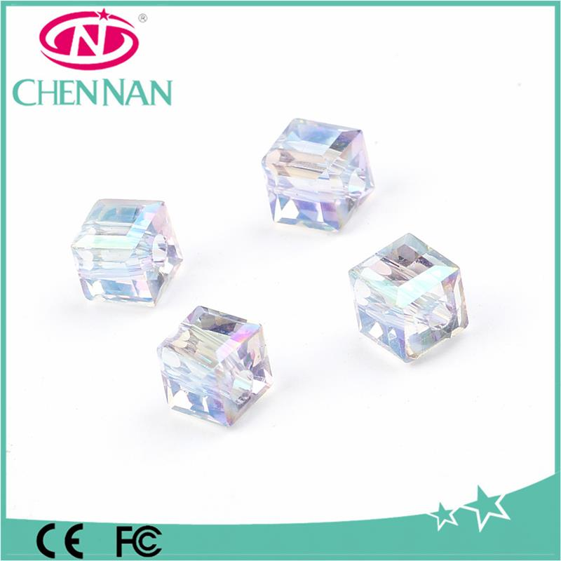 Pujiang diy reflective clear square cube crystal beads wholesale