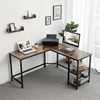 VASAGLE L-Shaped Wood Writing Desk Table Corner Furniture Modern Home Studio Office Metal Frame Computer Desk