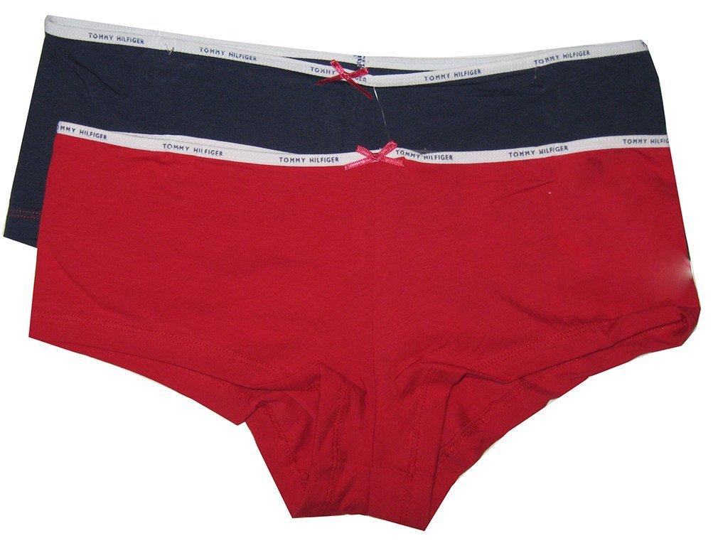e2150b21429b 2 Tommy Hilfiger Womens Boyshorts Underwear Panties Red & Navy Blue Large L