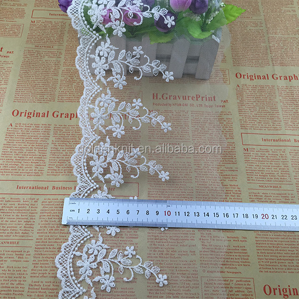 Emas Merajut Bordir Katun Tulle Lace untuk Wedding Dress W074 #